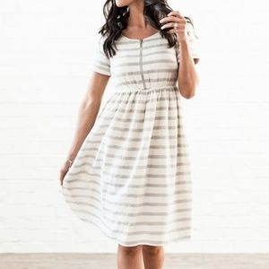 Gray Stripe Ryan Empire-Waist Dress - Women